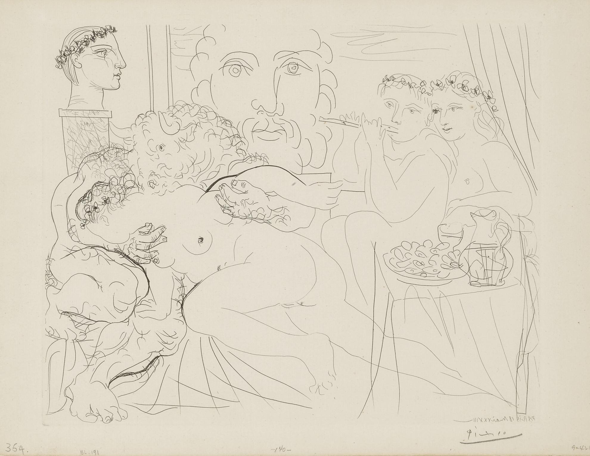 Pablo Picasso-Minotaure Caressant Une Femme (B. 191; Ba.350)-1933