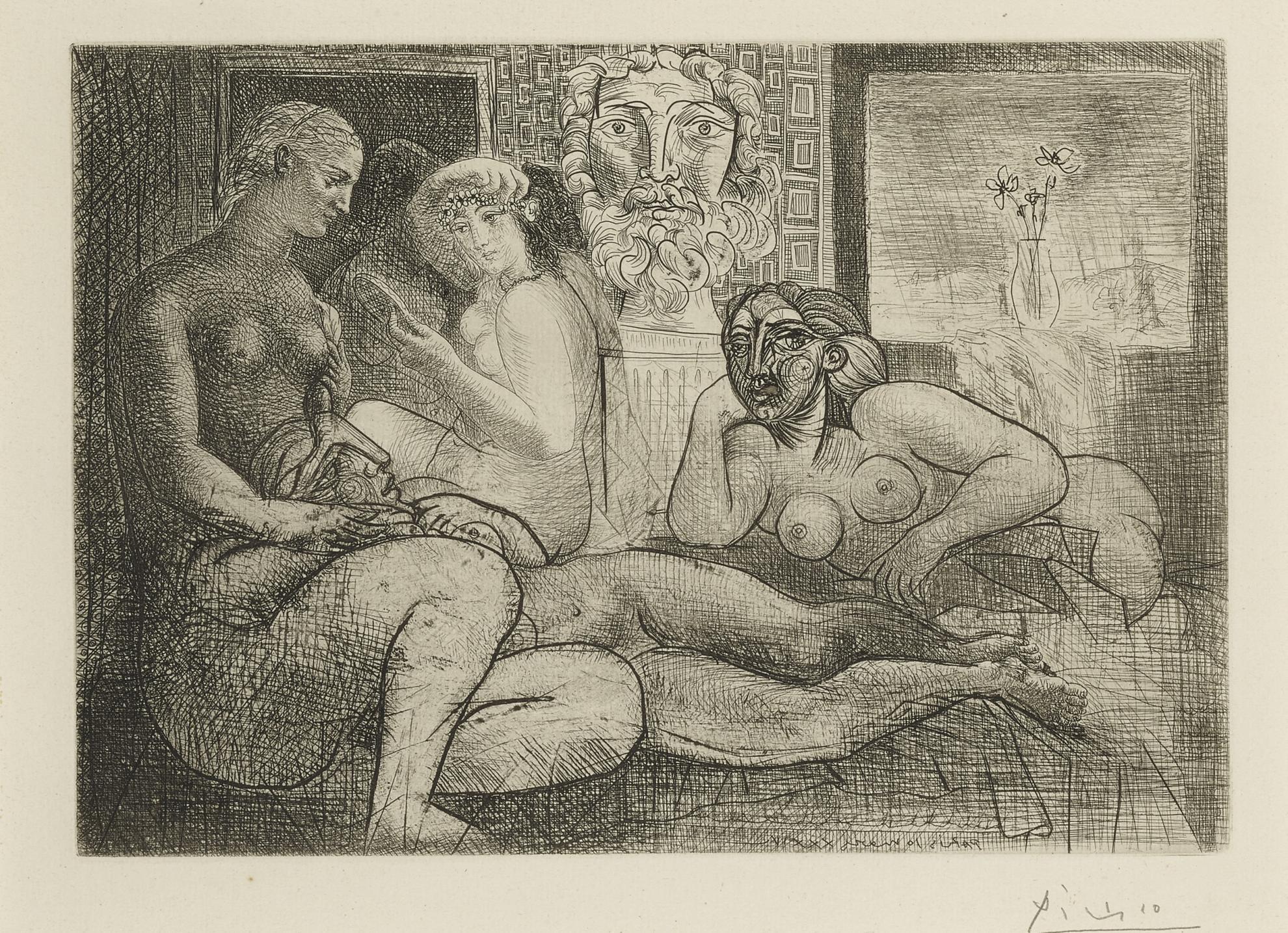 Pablo Picasso-Quatre Femmes Nues Et Tete Sculptee (B. 219; Ba. 424)-1934