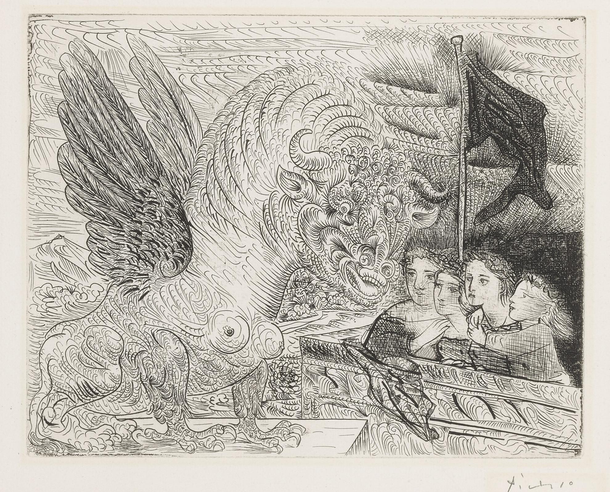 Pablo Picasso-Taureau Aile Contemple Par Quatre Enfants (B. 229; Ba. 444)-1934