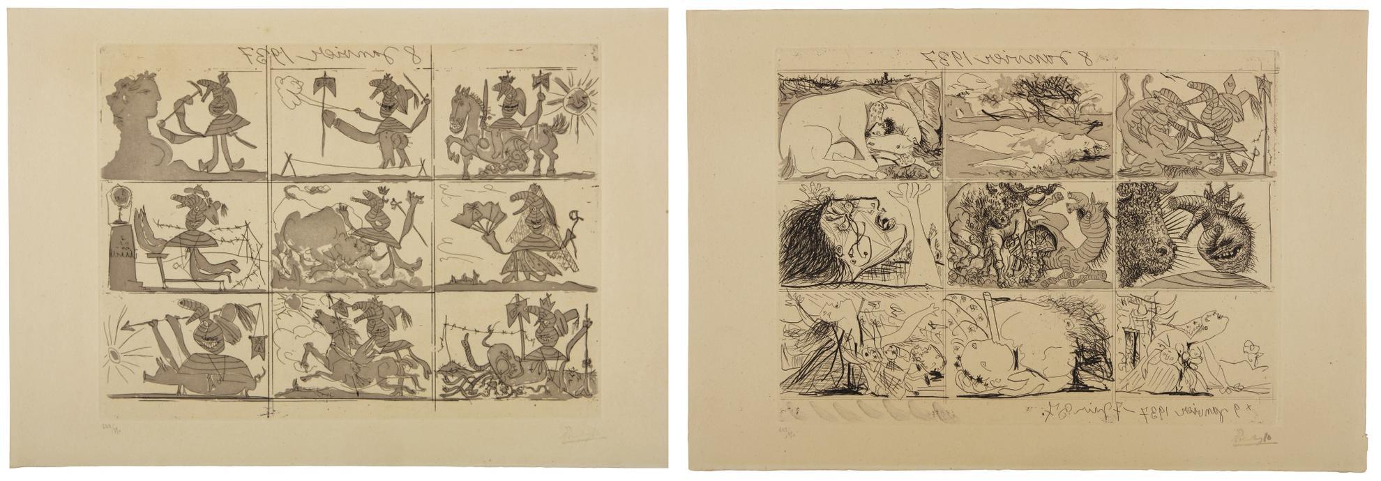 Pablo Picasso-Sueno Y Mentira De Franco (B. 297 And 298; Ba. 615 And 616)-1937