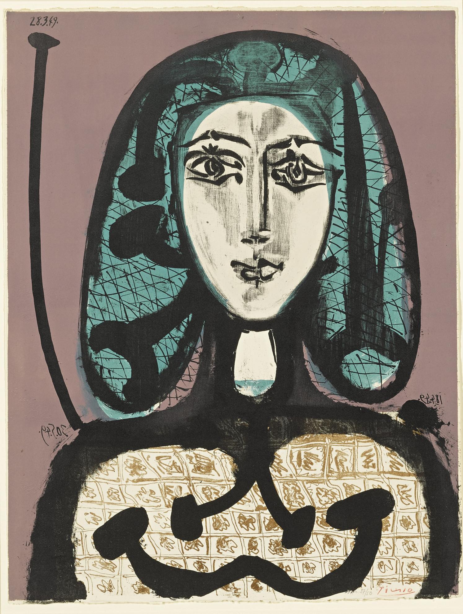 Pablo Picasso-La Femme A La Resille (Femme Aux Cheveux Verts) (B. 612; M. 178 Ter)-1949
