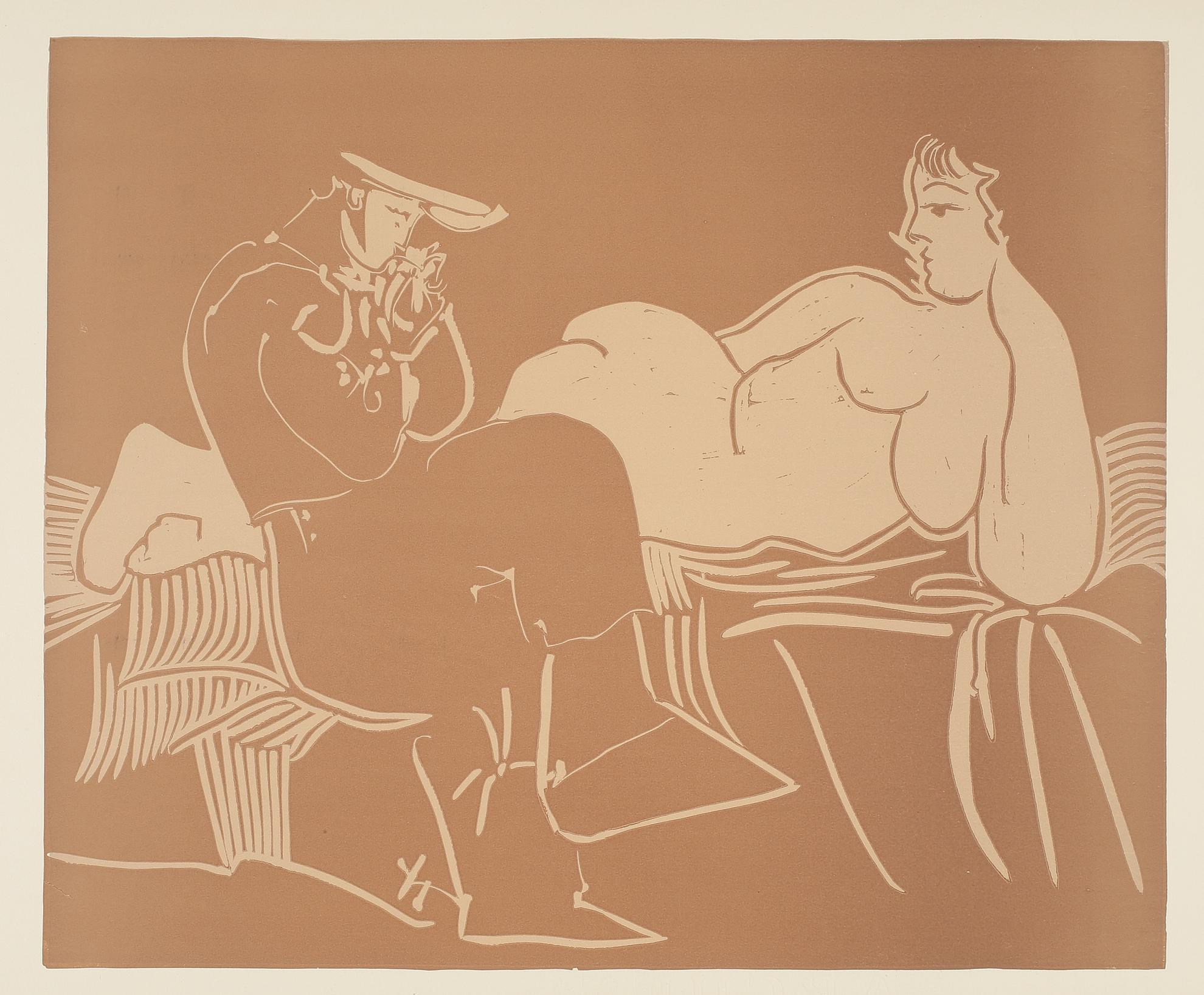 Pablo Picasso-Laubade, Avec Femme Accoudee (Ba. 1233)-1959
