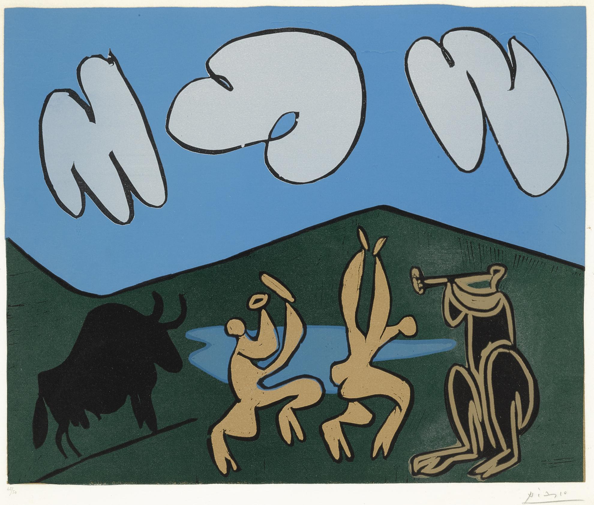 Pablo Picasso-Bacchanale Au Taureau Noir (B. 935; Ba. 1253)-1959