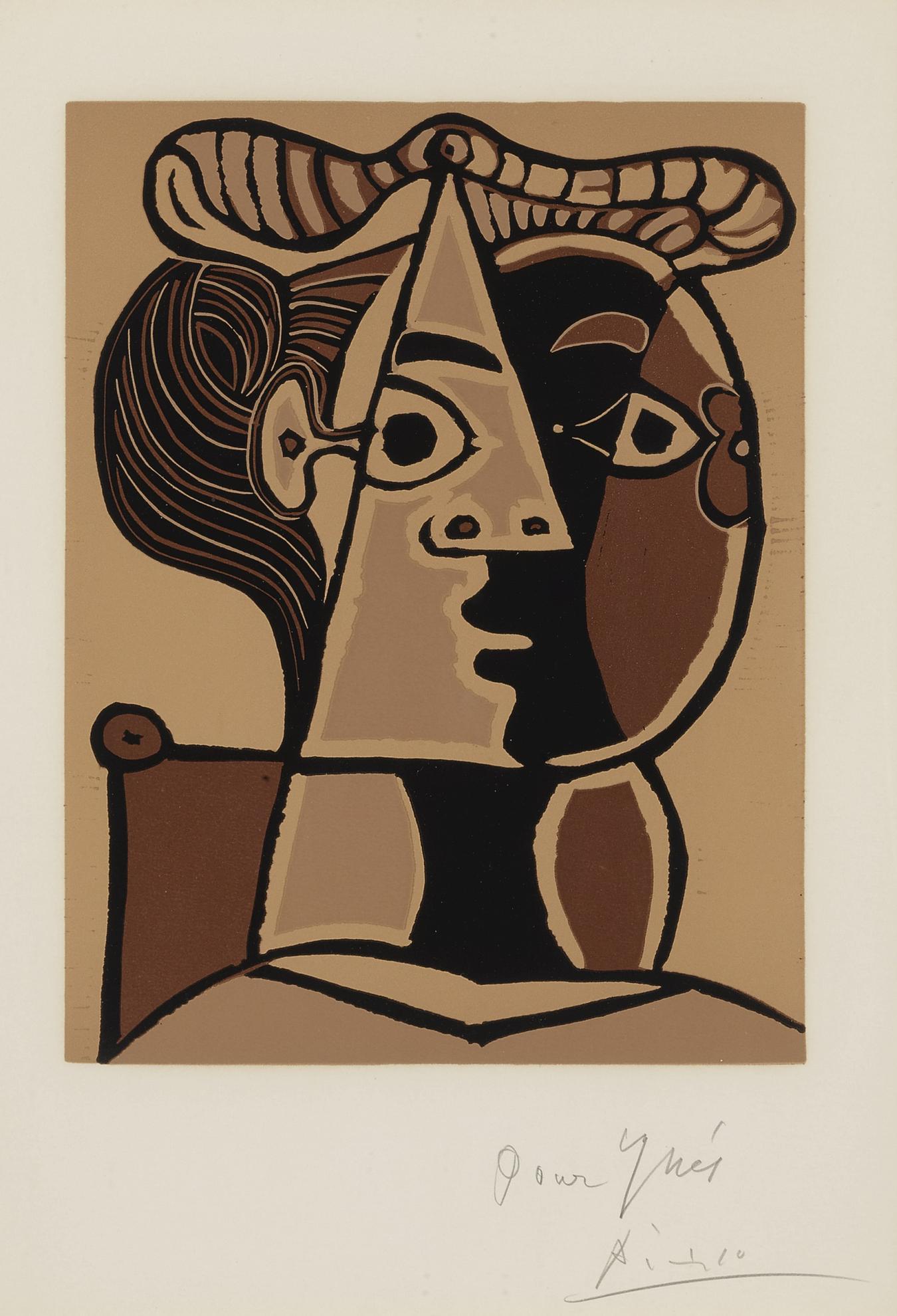 Pablo Picasso-Femme Assise Au Chignon (B. 1071; Ba. 1298)-1962