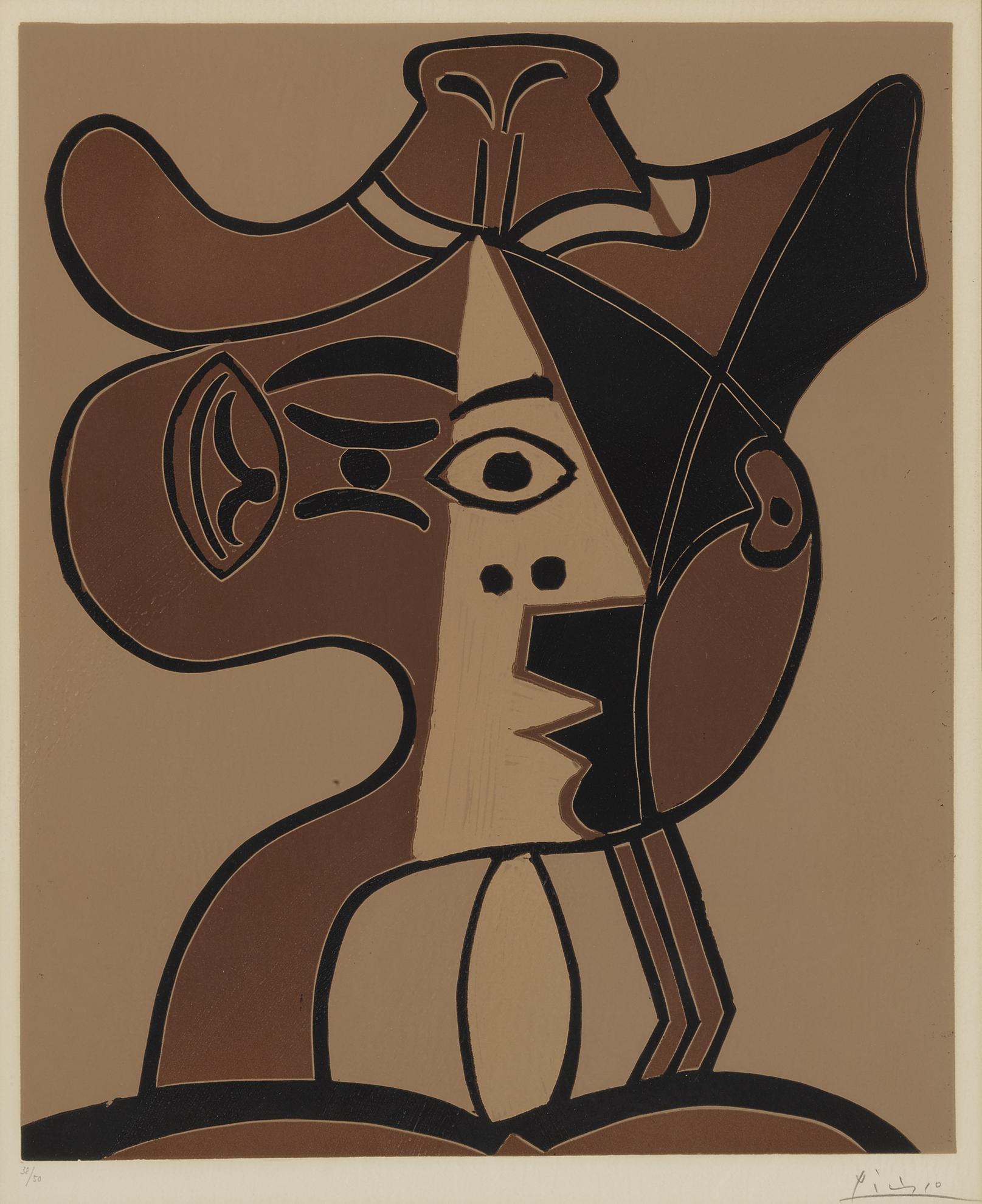 Pablo Picasso-Grande Tete De Femme Au Chapeau (B. 1078; Ba. 1293)-1962