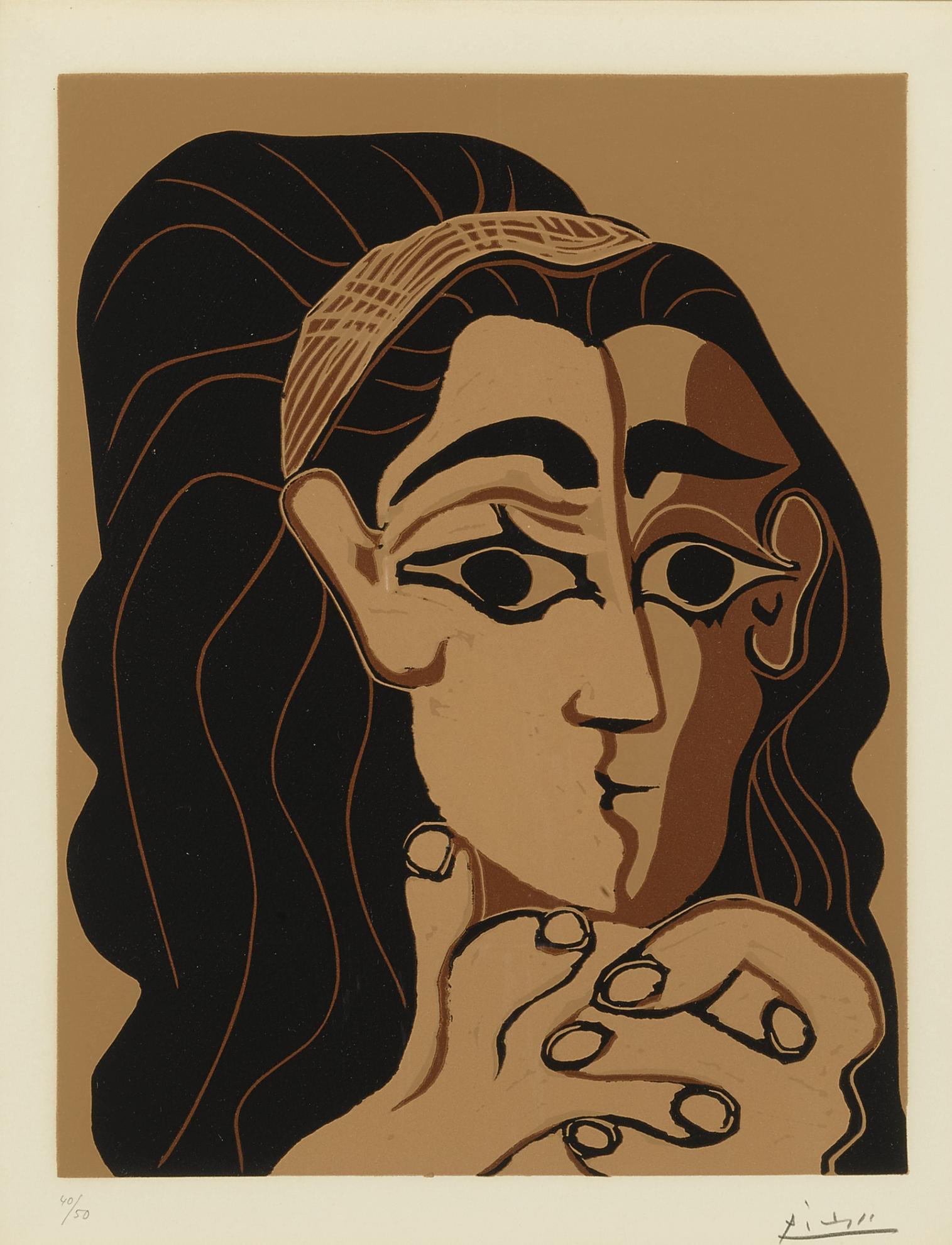 Pablo Picasso-Portrait De Jacqueline Au Bandeau, Accoudee (B. 1081; Ba. 1306)-1962