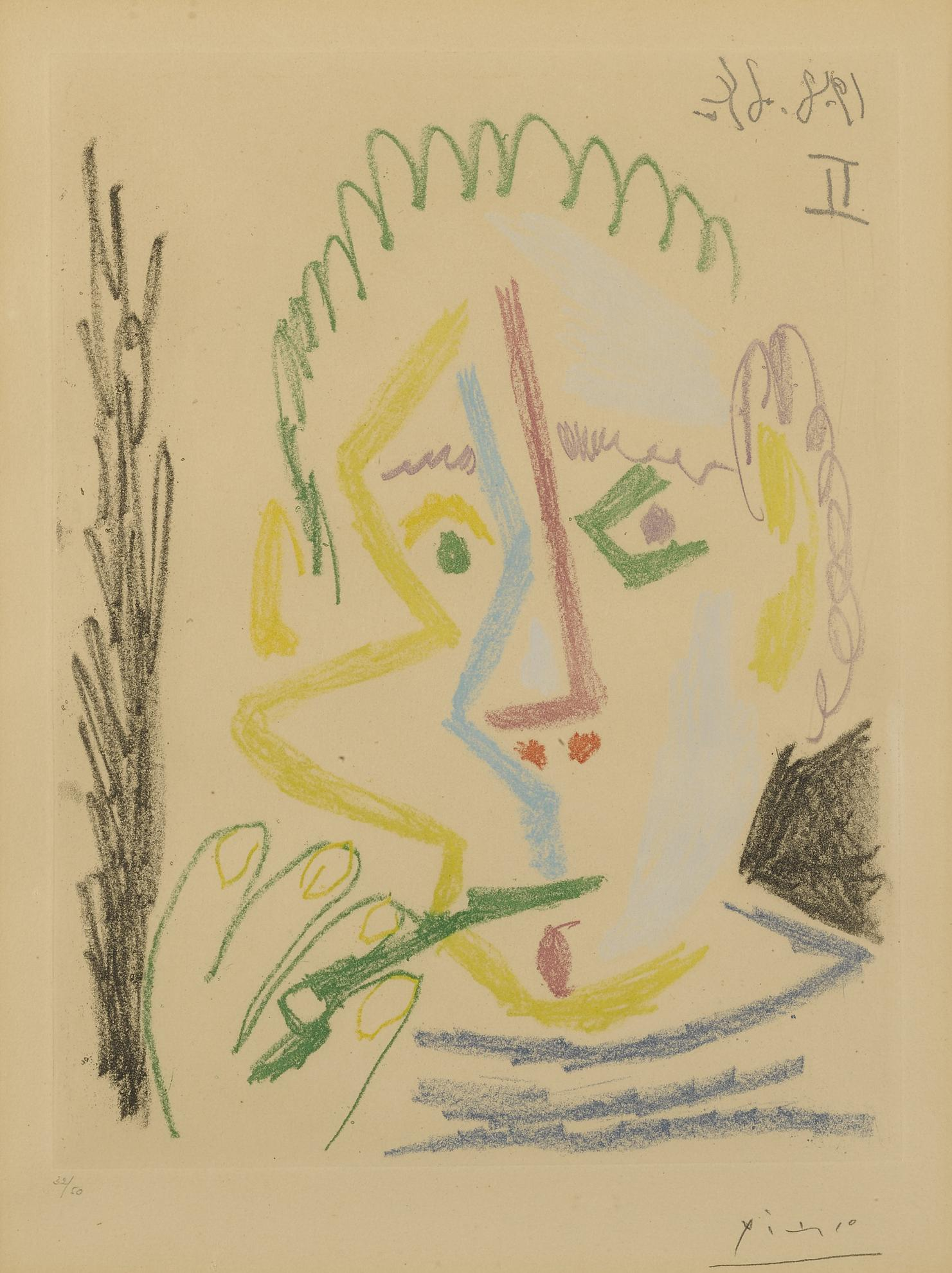 Pablo Picasso-Fumeur. I (B. 1165; Ba. 1165)-1964
