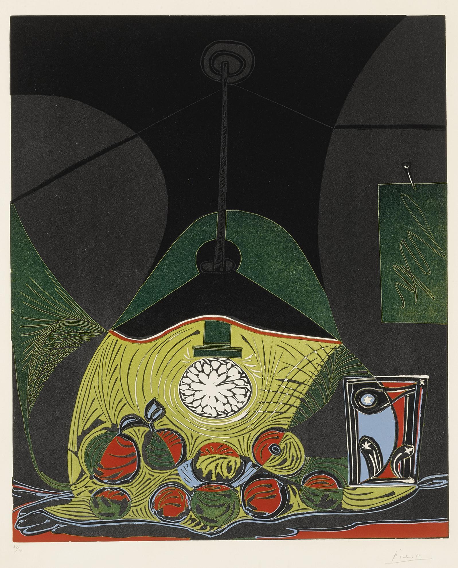 Pablo Picasso-Nature Morte A La Suspension (Nature Morte Sous La Lampe) (B. 1102; Ba. 1313)-1962