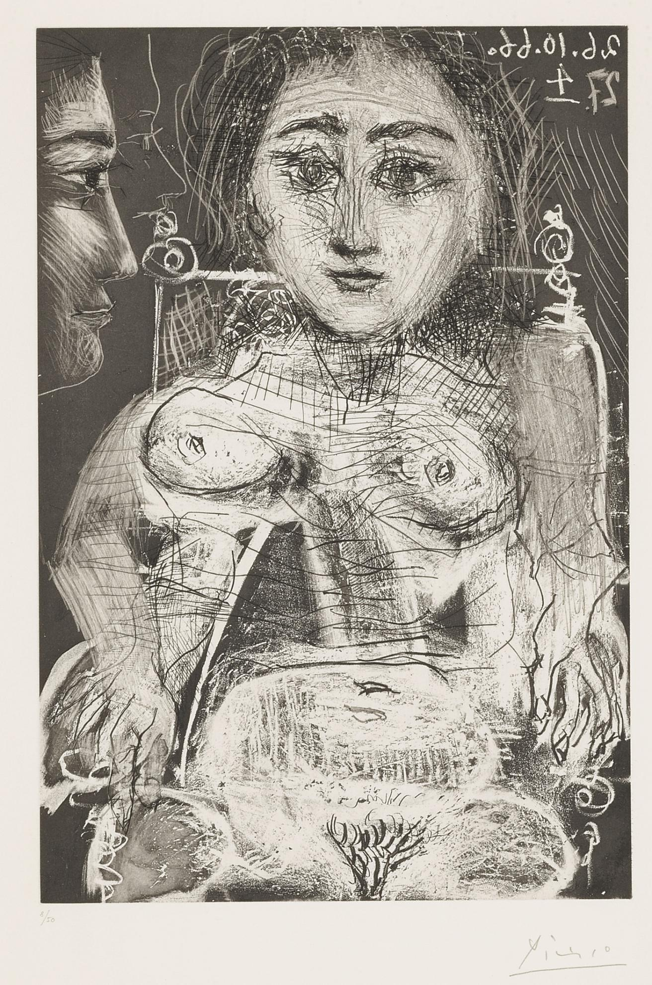 Pablo Picasso-Portrait De Jacqueline Au Fauteuil (B. 1394; Ba. 1416)-1966