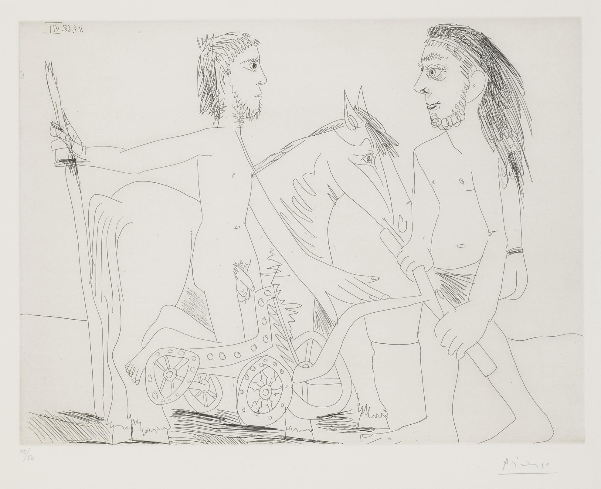 Pablo Picasso-Television: Combat De Chars A L'Antique (B. 1510; Ba. 1526)-1968