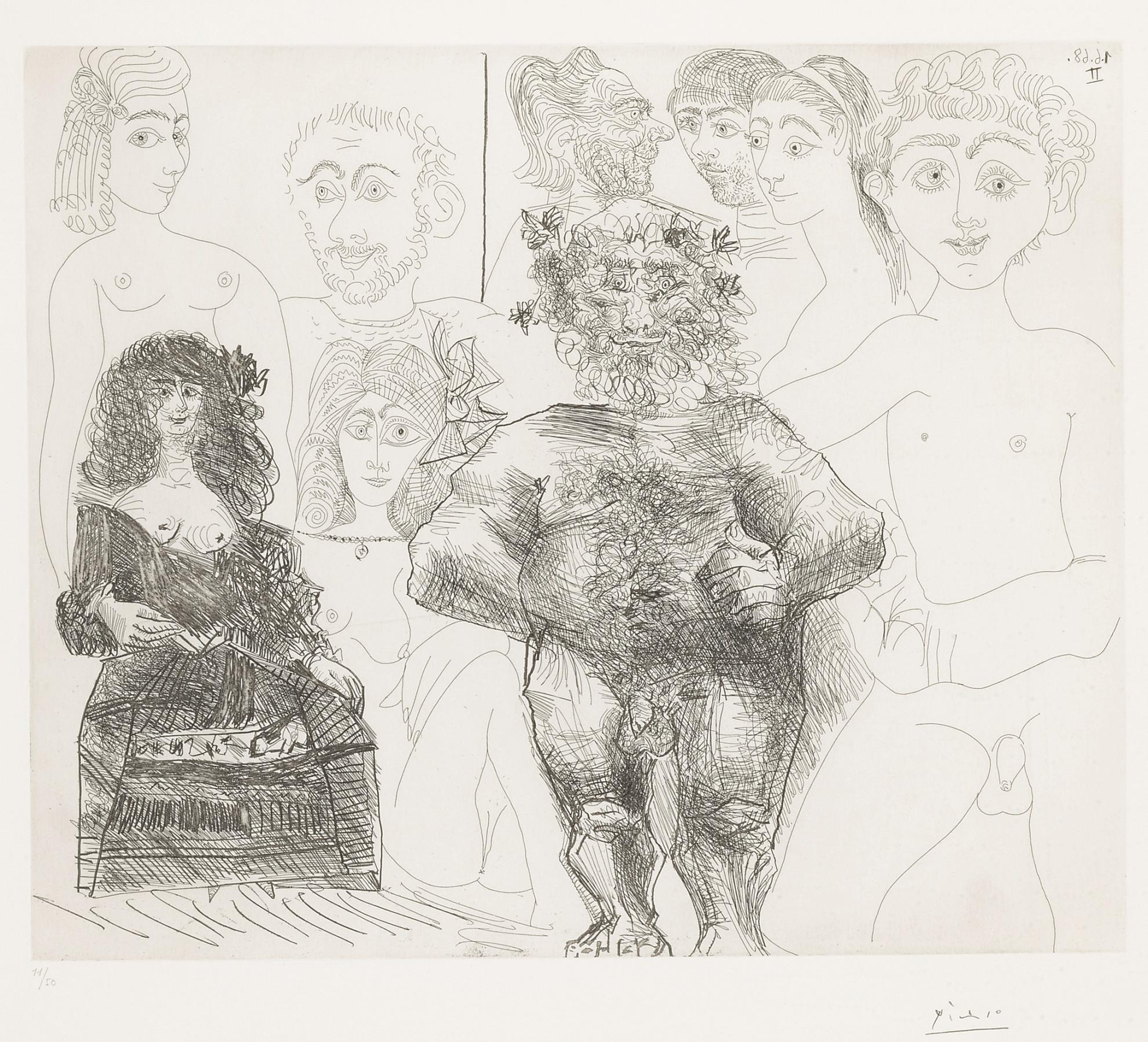 Pablo Picasso-Sexe A Lancienne Et A La Moderne (B. 1631; Ba. 1615)-1968