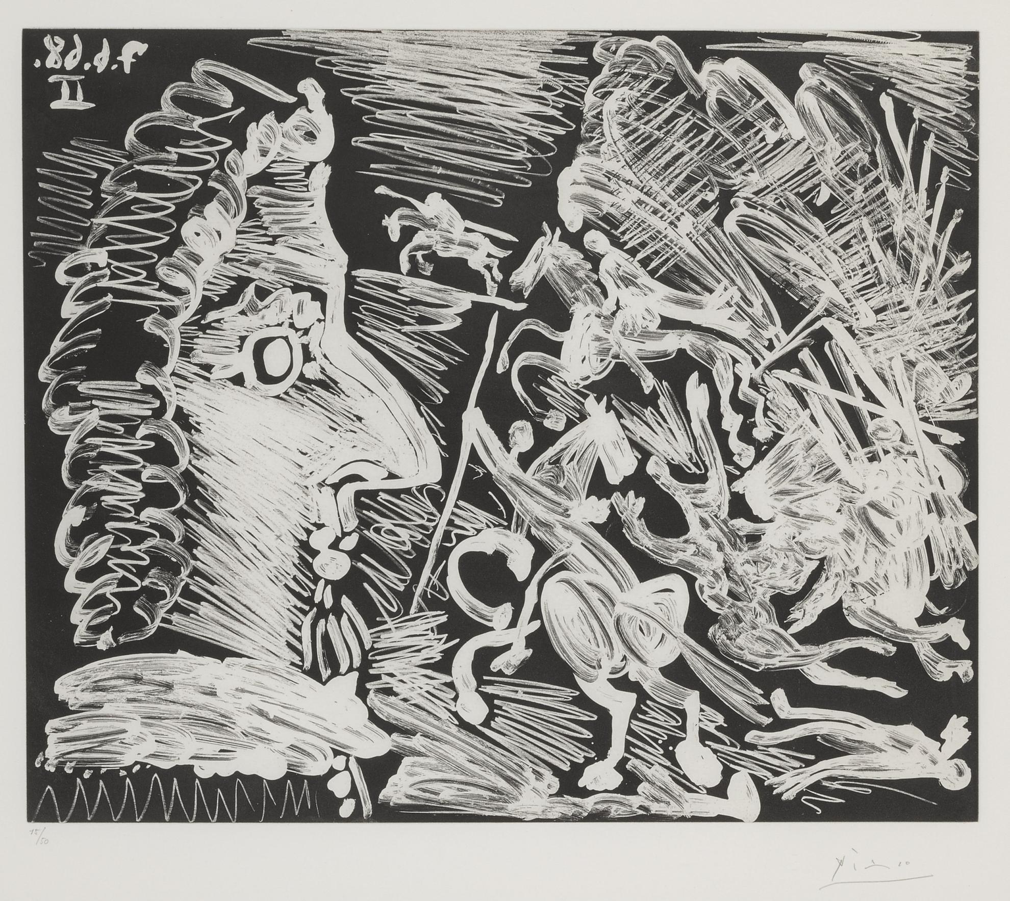Pablo Picasso-Mousquetaire De Profil, Avec Combat A La Lance (B. 1614; Ba. 1640)-1968