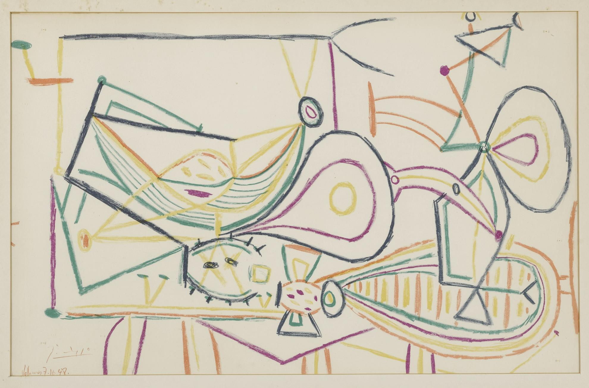 After Pablo Picasso - Untitled: Vallauris 7.10.1948-1948