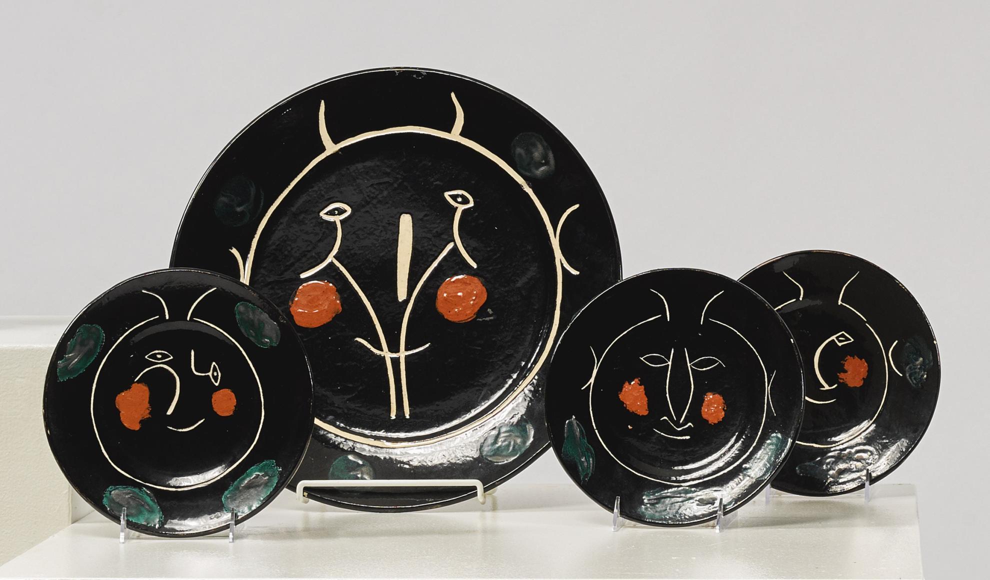 Pablo Picasso-Service Visage Noir (A.R. 35, 37, 39, 41, 43 - 47)-1948