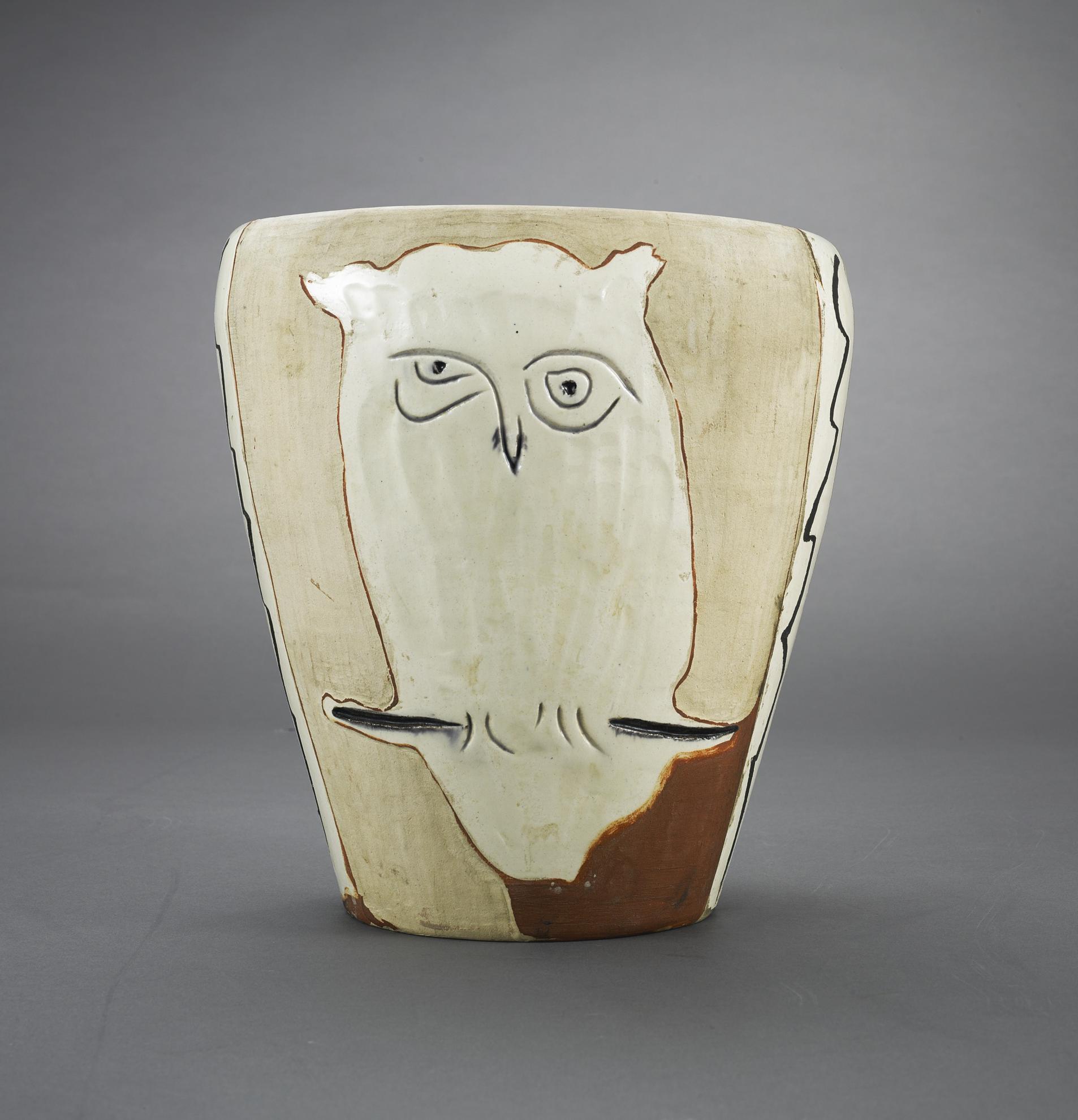 Pablo Picasso-Visage Et Hibou (A.R. 407)-1958