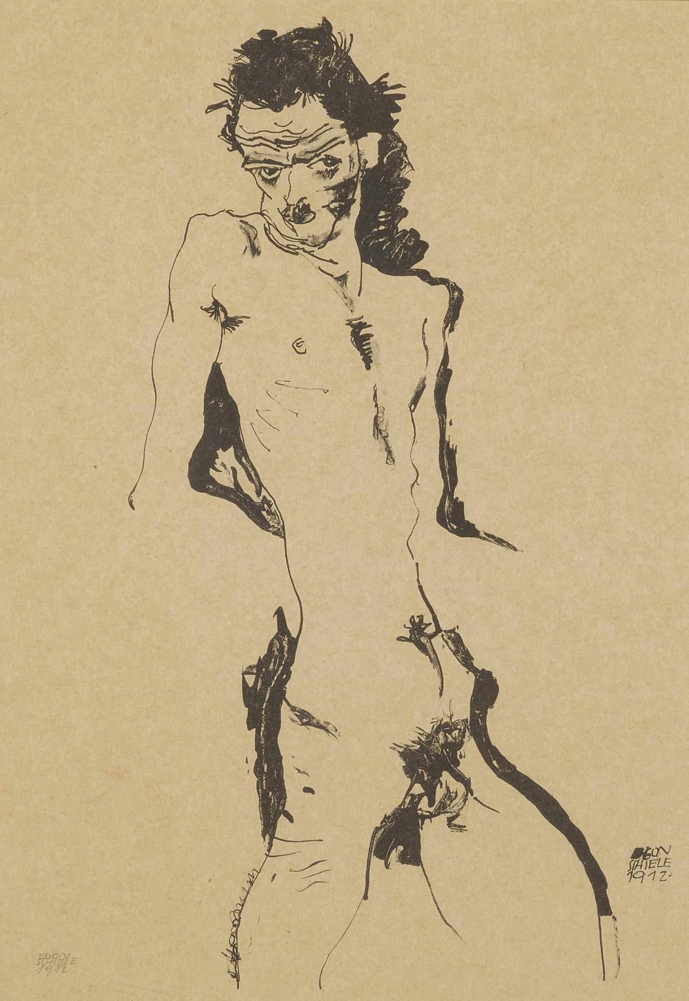 Egon Schiele-Male Nude (Self Portrait) I (Kallir 1)-1912