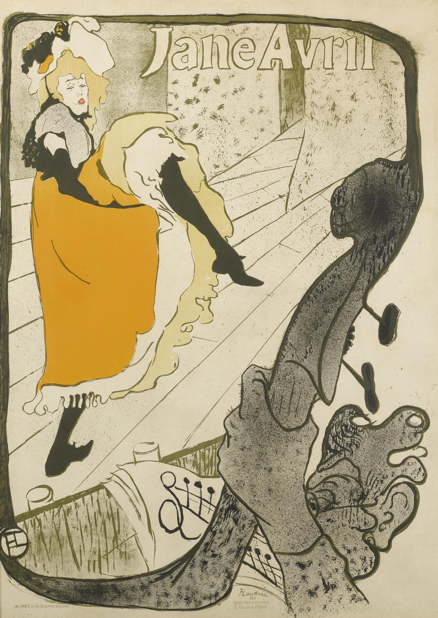Henri de Toulouse-Lautrec-Jane Avril (D. 345; Adr. 11; W. P6)-1893