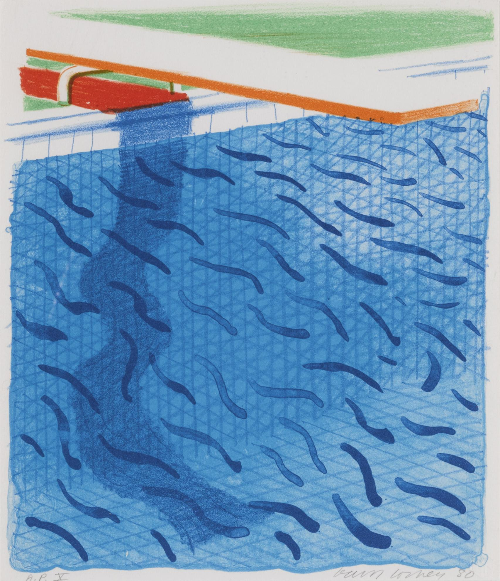 David Hockney-Pool Made With Paper And Blue Ink For Book (M.C.A.T. 234)-1980
