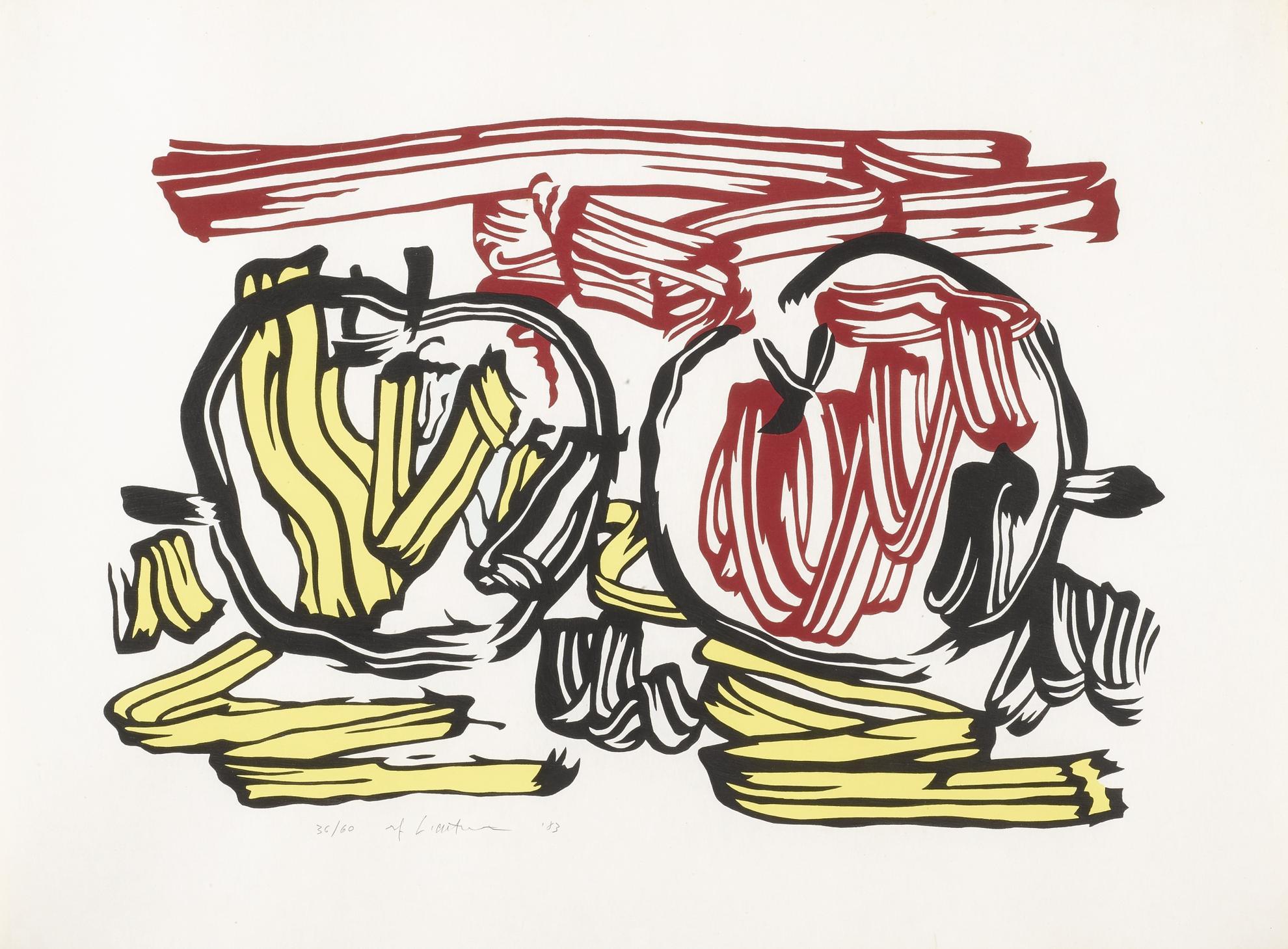 Roy Lichtenstein-Red Apple And Yellow Apple (C. 197)-1983