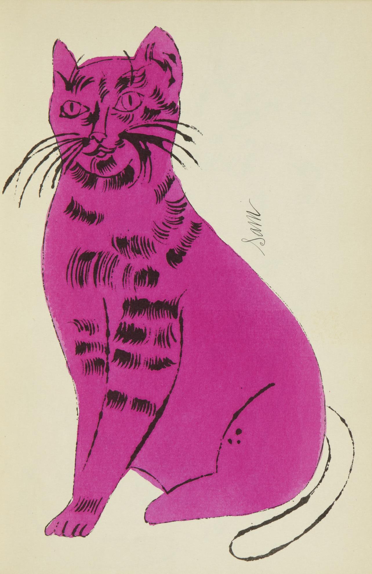Andy Warhol-25 Cats Name[D] Sam And One Blue Pussy (F. & S. Iv.52A - 68A)-1954