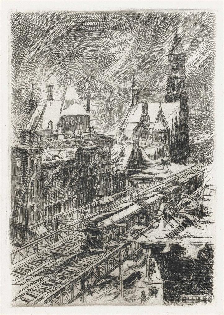 John Sloan-Snowstorm In The Village-1925