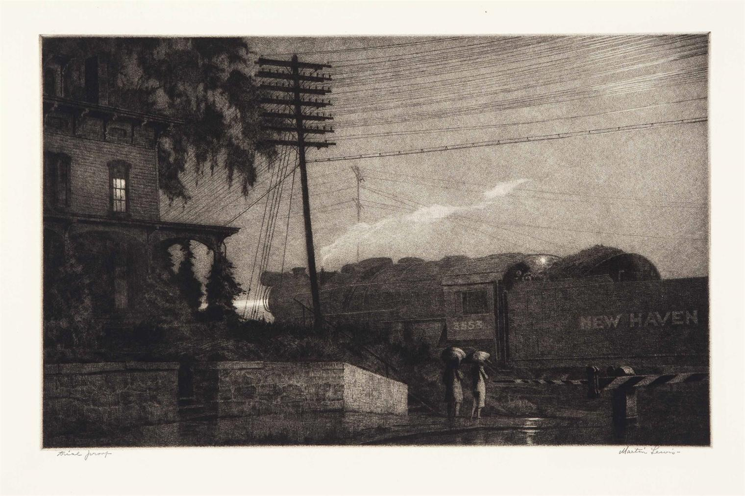 Martin Lewis-The Passing Freight, Danbury-1934