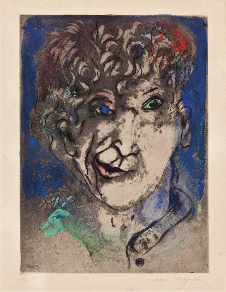 Marc Chagall-Self Portrait With Grimace-1925