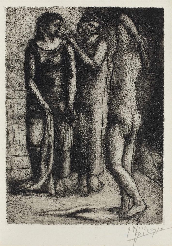 Pablo Picasso-Deux Femmes Regardant Un Modele Nu-1923