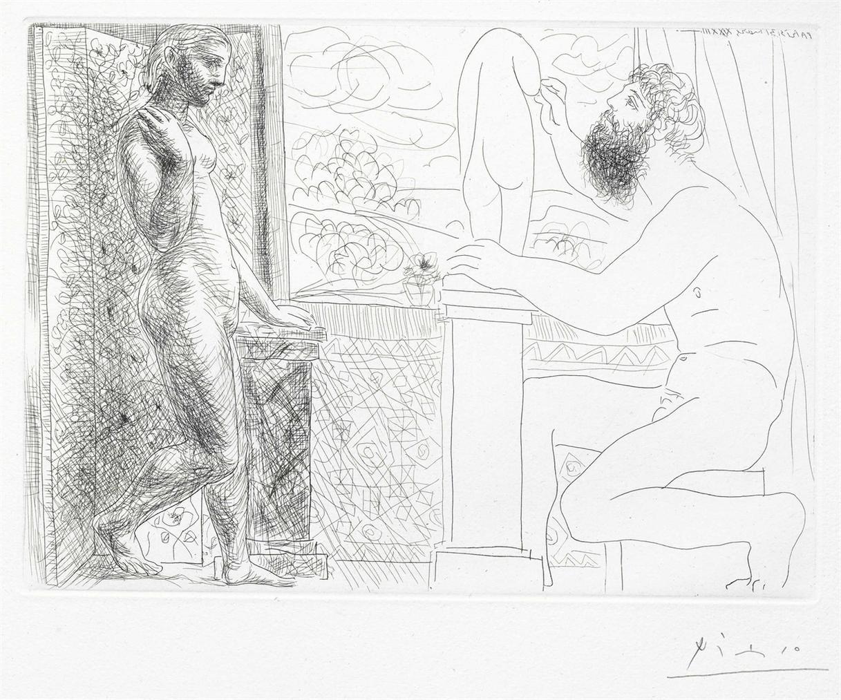 Pablo Picasso-Sculpteur Et Son Modele Devant Une Fenetre, From La Suite Vollard-1933