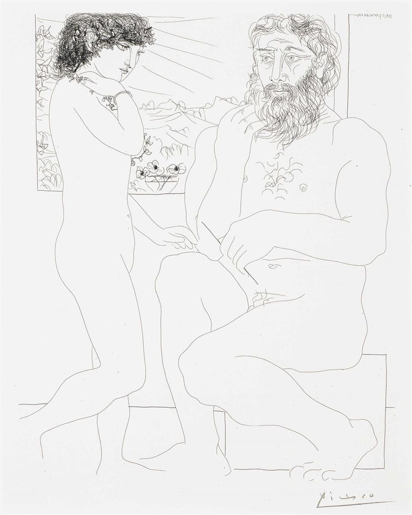 Pablo Picasso-Sculpteur Songeant, Modele Aux Cheveux Noirs Et Bol Avec Trois Anemones, From La Suite Vollard-1933