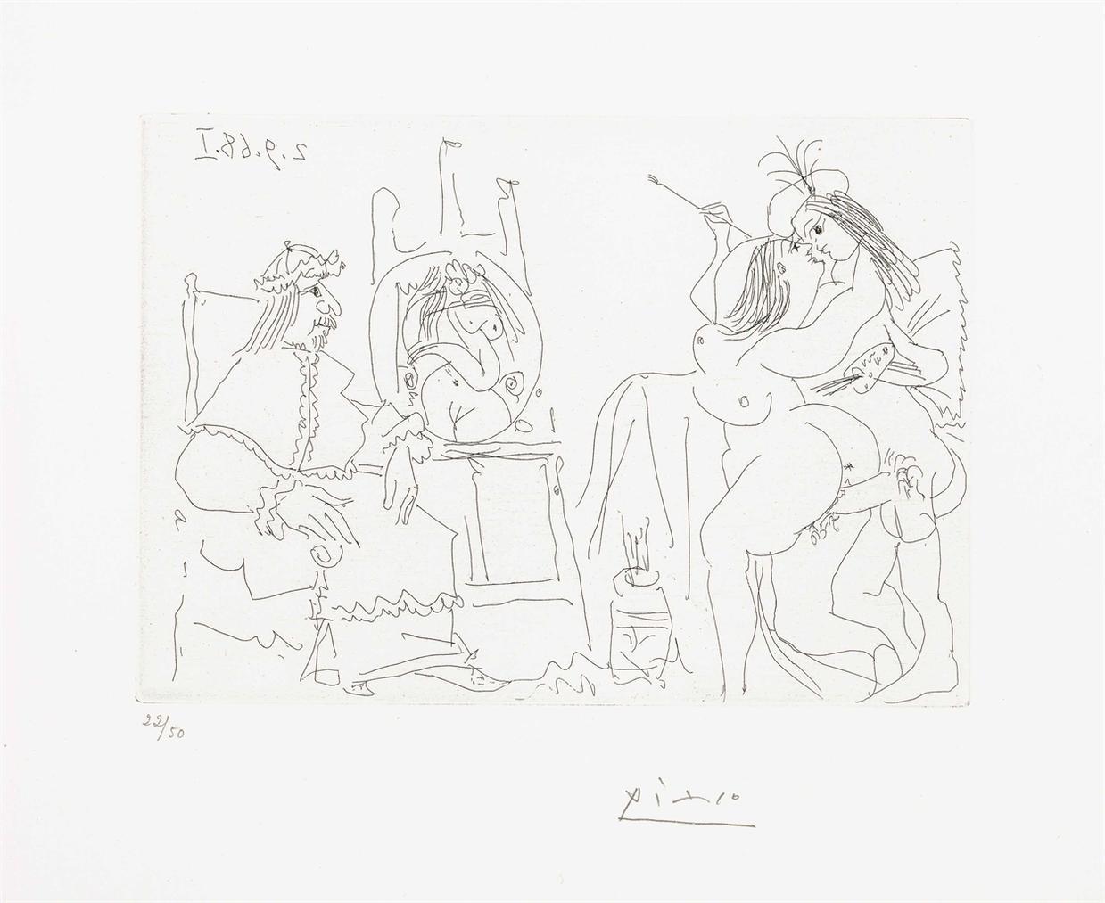 Pablo Picasso-Raphael Et La Fornarina. X: Le Pape A Fait Apporter Son Fauteuil, From La Serie 347-1968