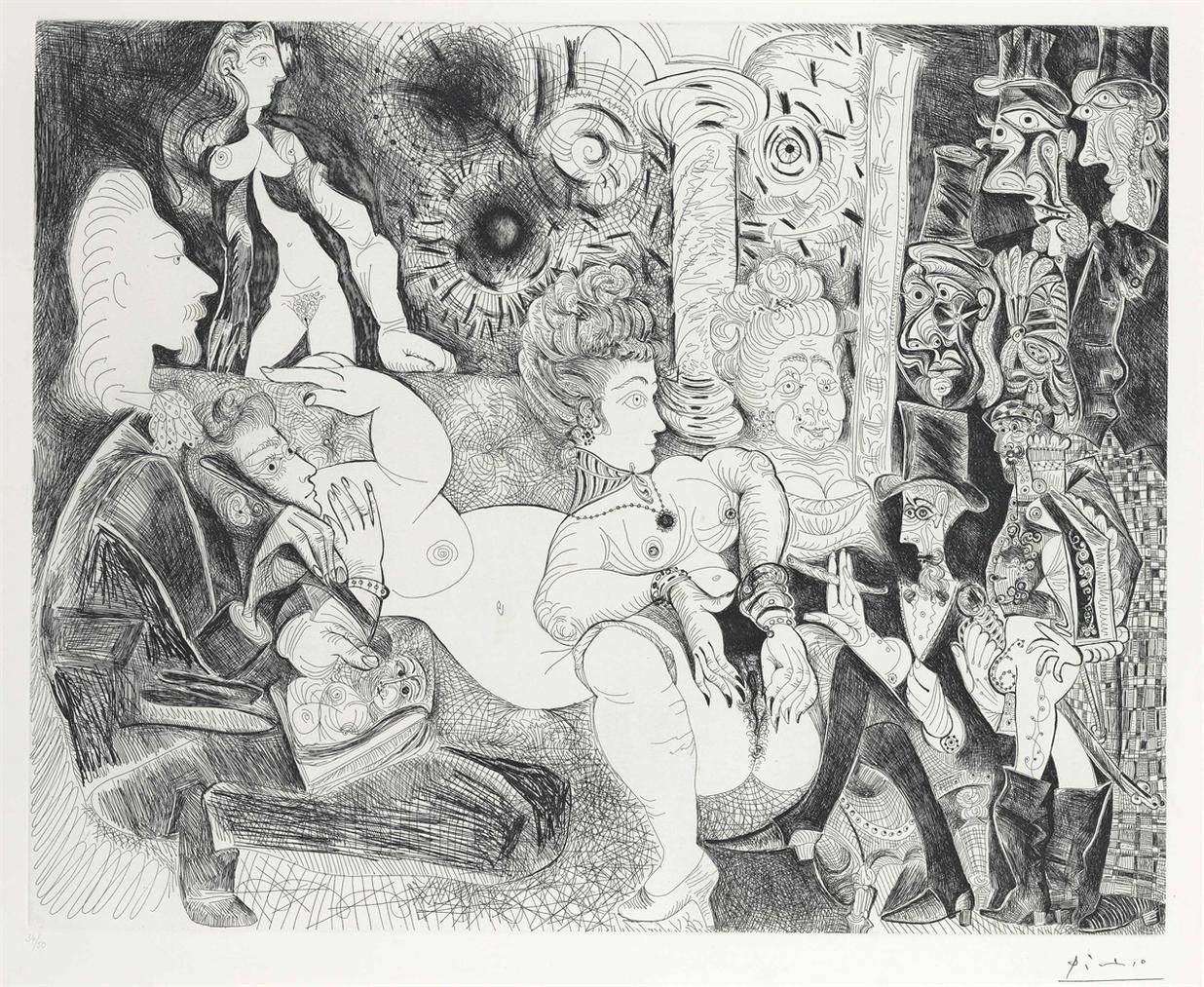 Pablo Picasso-Peintre A Lavaliere Dessinant Son Modele Dans Le Cadre De La Maison Tellier, From La Serie 156-1970
