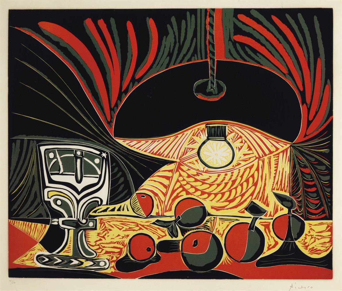 Pablo Picasso-Nature Morte Au Verre Sous La Lampe-1962