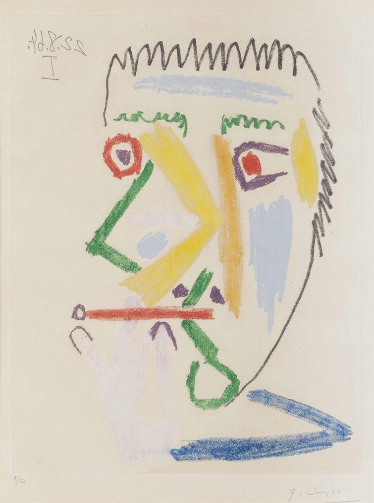 Pablo Picasso-Fumeur A La Cigarette Rouge-1964