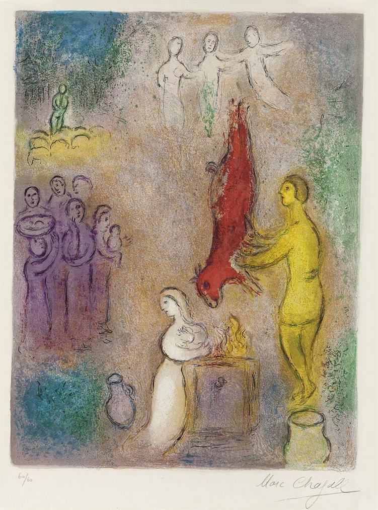 Marc Chagall-Sacrifice Aux Nymphes, From Daphnis Et Chloe-1961