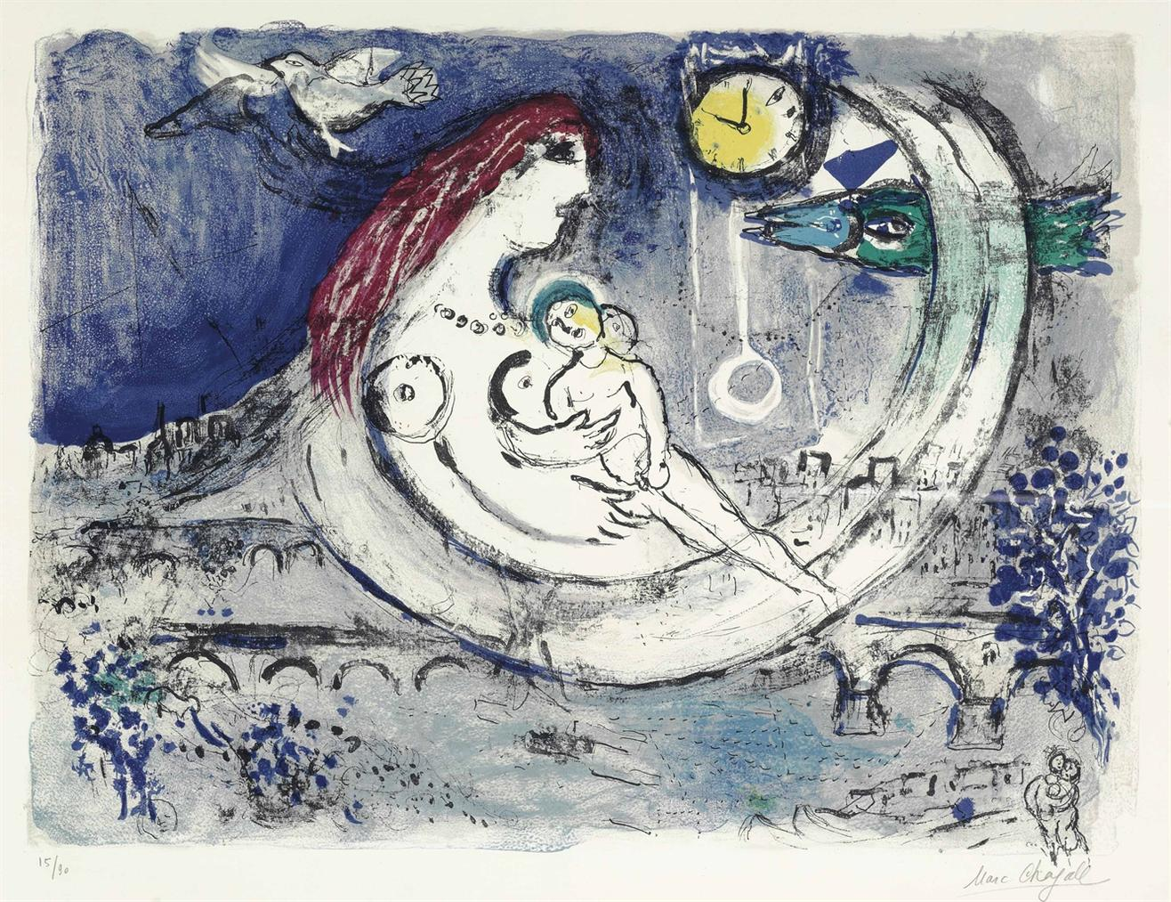 Marc Chagall-Paysage Bleu-1958