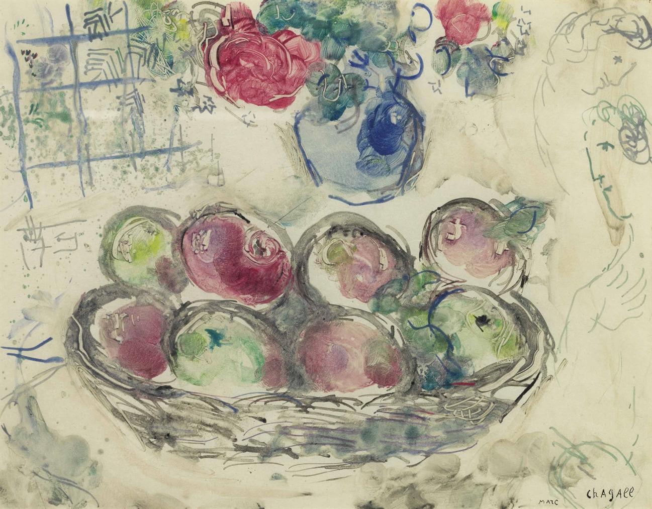 Marc Chagall-La Corbeille De Pommes-1963
