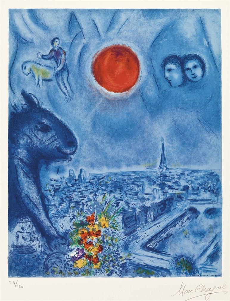 After Marc Chagall - Le Soleil De Paris-1977