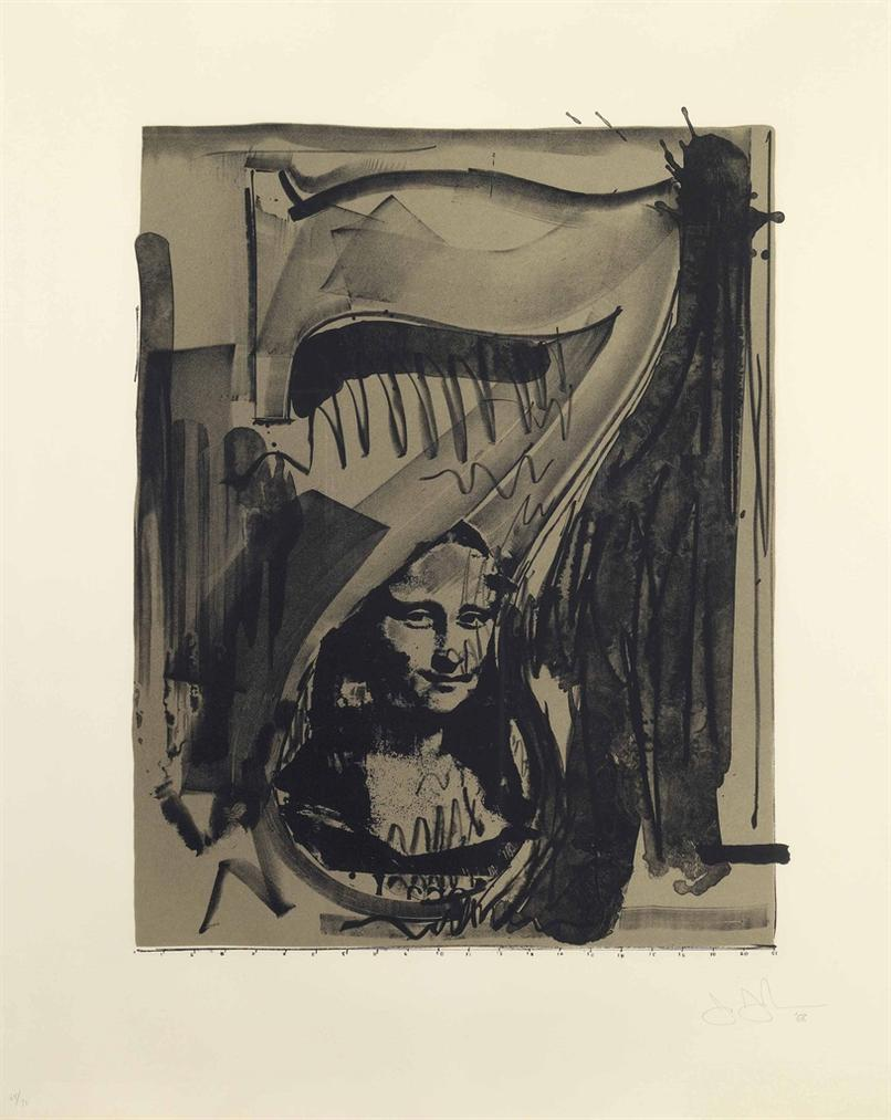 Jasper Johns-Figure 7, From Black Numeral Series-1968
