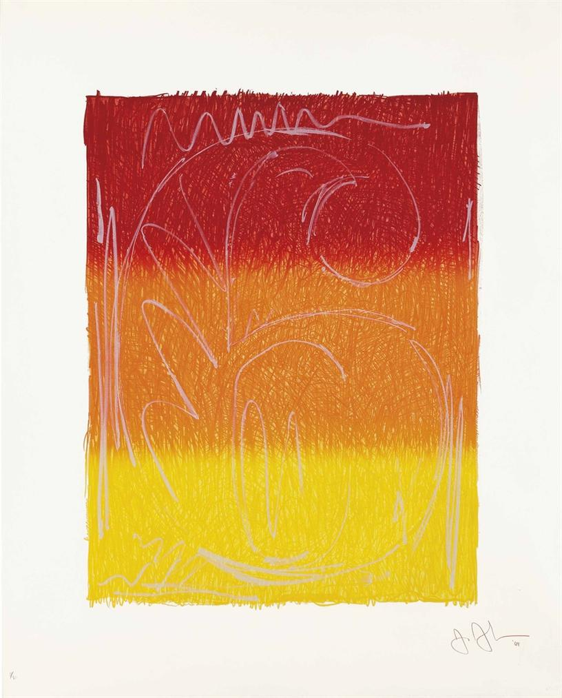 Jasper Johns-Figure 6, From Color Numeral Series-1969