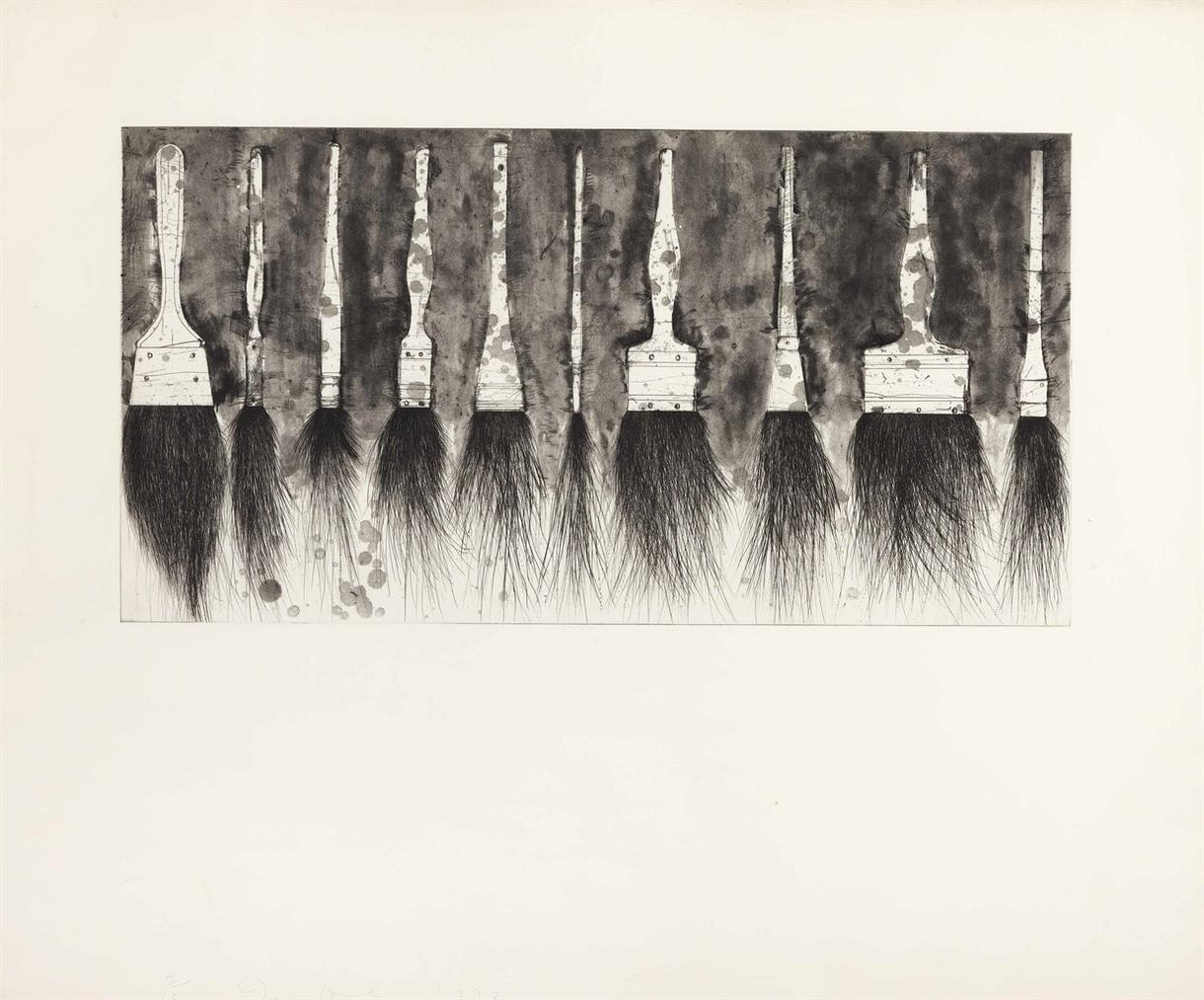 Jim Dine-Five Paintbrushes (Fourth State)-1973