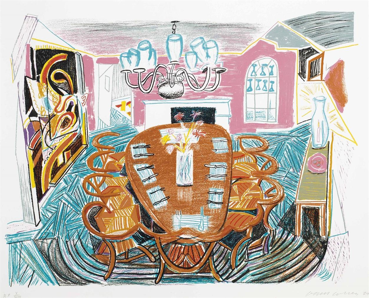 David Hockney-Tyler Dining Room, From Moving Focus-1984