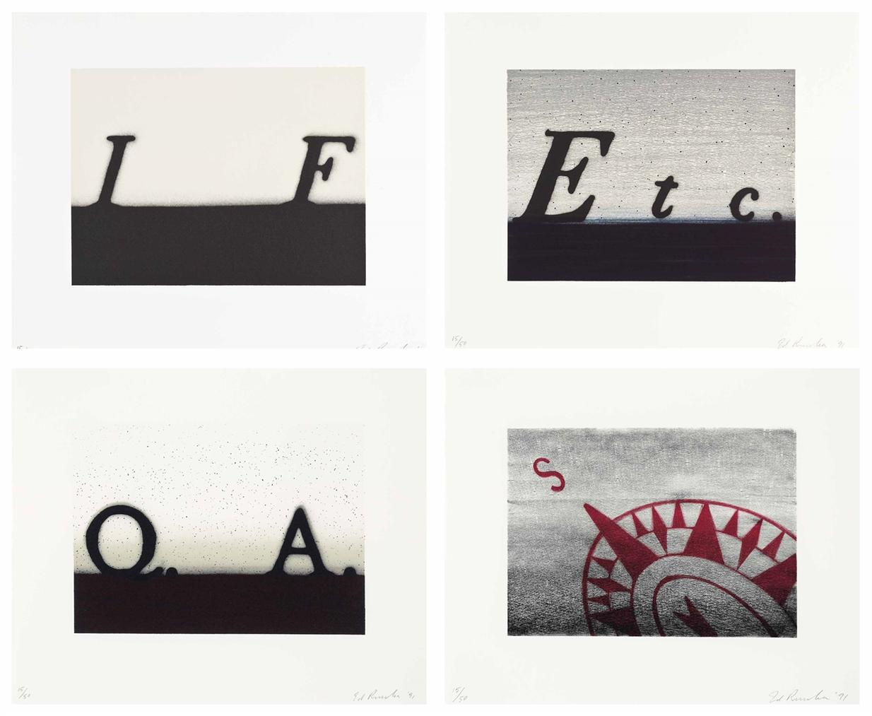 Ed Ruscha-Etc.; If; South; Question & Answer-1991