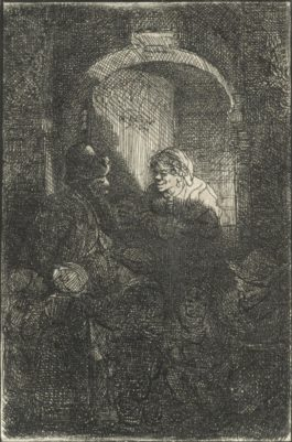 Rembrandt van Rijn-A Hurdy-Gurdy Player Followed By Children At The Door Of A House (The Schoolmaster)-1641