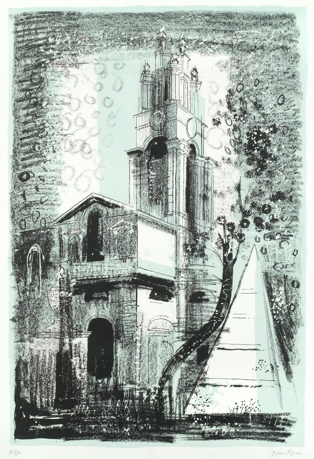 John Piper-St Annes, Limehouse, London, By Nicholas Hawksmoor-1964