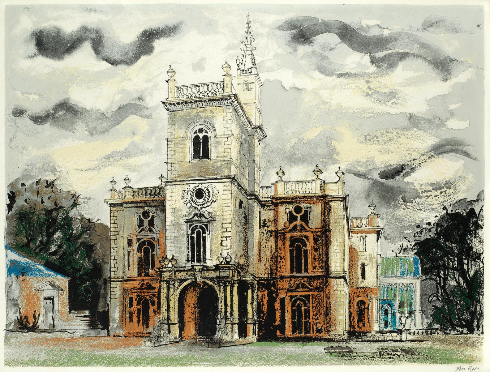 John Piper-Flintham Hall, From Victorian Dream Palaces-1977