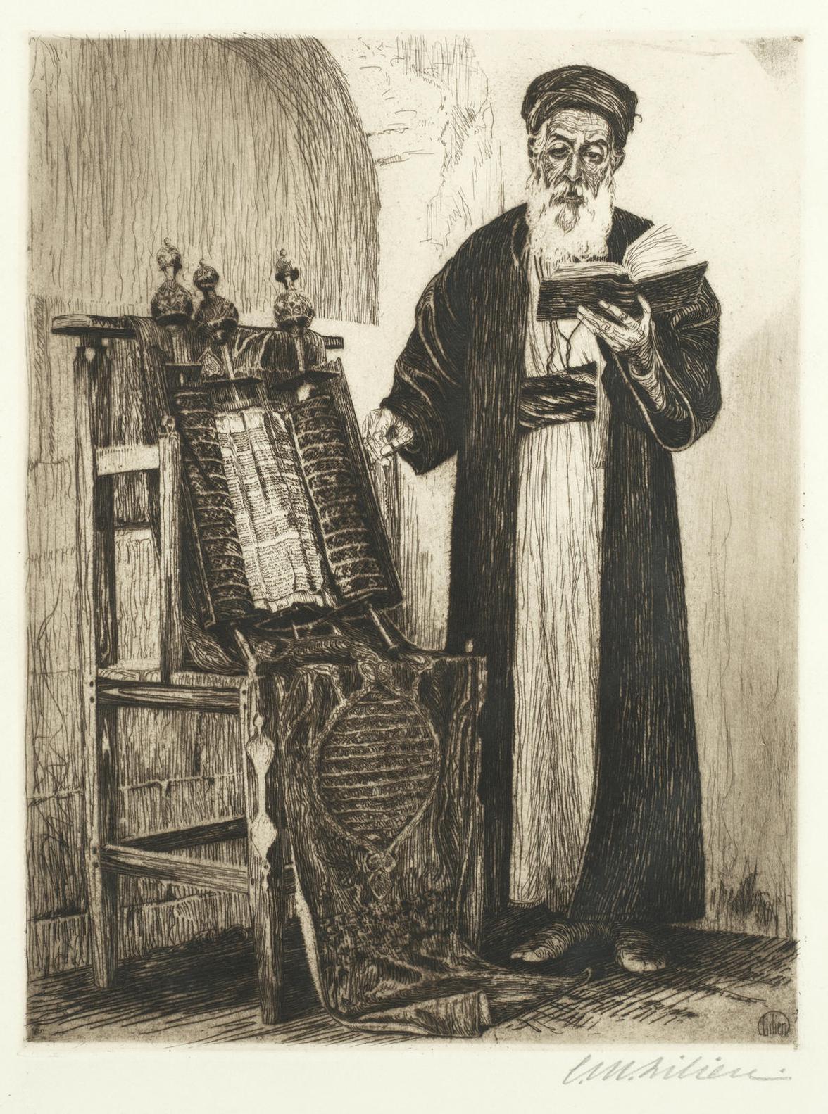 Ephraim Moshe Lilien - Reading The Torah; The Market Square, Lemberg-1915