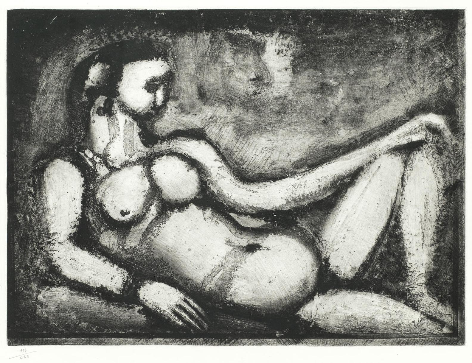 Georges Rouault-Courtisane Nue, Plate Vi From Quatorze Planches Gravees Pour Les Fleurs Du Mal-1927