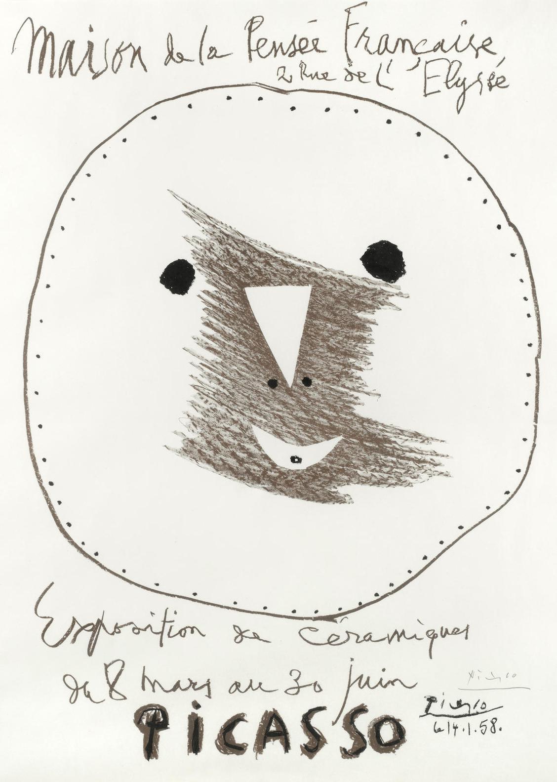 Pablo Picasso-Affiche Exposition De Ceramiques-1958