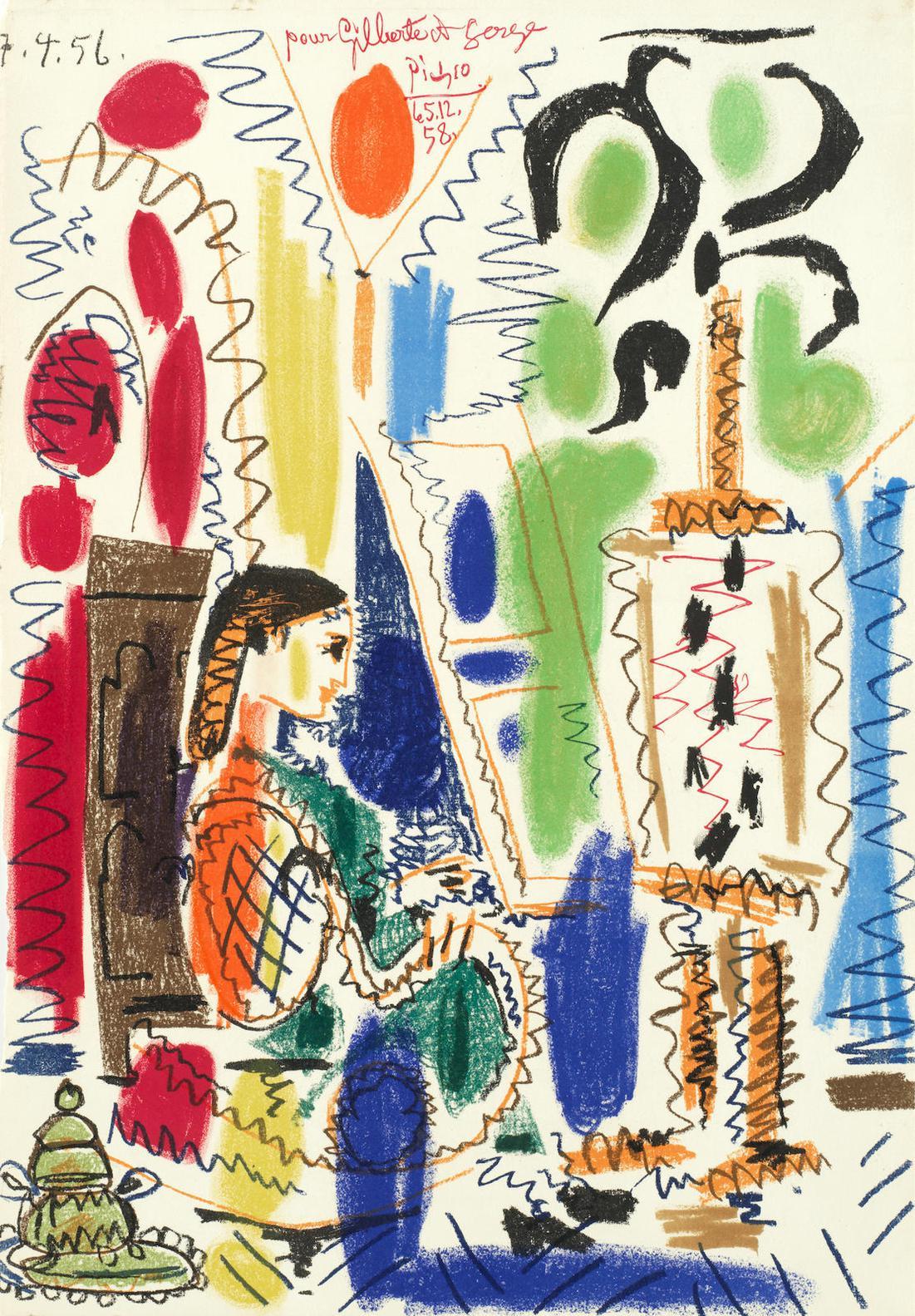 Pablo Picasso-L'Atelier de Cannes, cover for 'Ces peintres nos amis Vol. II' (Mourlot 279; Bloch 794)-1956